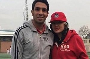 سپهرحیدری و همسرش در زمین فوتبال+عکس
