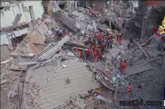 وسعت خرابی های زلزله در ایتالیا از دید یک پهپاد