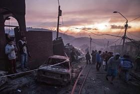 آنچه از آتش سوزی در شهر والپاراسو در شیلی برجا مانده