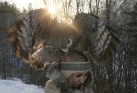 کارمند باغ وحش داریا چریپانوا با یک جغد هشت ماهه خاکستری در یک برنامه آموزشی در سیبری کراسنویرسک روسیه