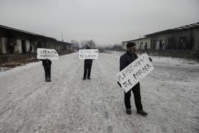تظاهرات مهاجران در کمپی در بلگراد صربستان