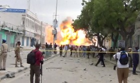 صحنه یک انفجار انتحاری در موگادیشو در سومالی