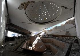 ساختمان تخریب شده یک جکوزی در خانه مدیر و صاحب کارخانه ریسندگی سابق در حلب