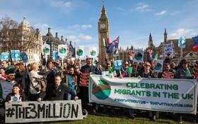 تظاهرات به نفع مهاجران در لندن مقابل پارلمان انگلیس