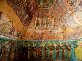 بخشی از نقاشی های کشف شده بر دیوارهای معبد مایاها در شهر چیاپاس در مکزیک2