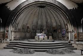 بخشی از محراب کلیسایی در منطقه قره قوش در جنوب موصل