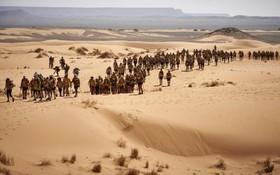 سی و دومین مسابقه  ماراتون در مرزوق در صحرای مغرب