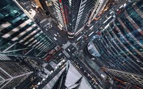 یک تصویر از فراز میدان تایمز در نیویورک