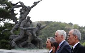 سفر معاون رئیس جمهوری آمریکا مایک پنس و همسرش به کره جنوبی و ادای احترام وی به مقبره سرباز گمنام