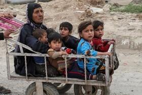 یک مادر و کودکان آواره عراقی گریخته از حاکمیت داعش در حومه موصل