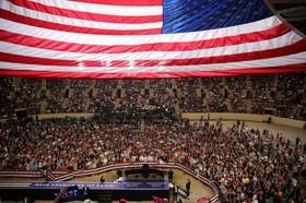 ترامپ در مراسم یکصدمین روز ریاست جمهریش