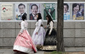 تبلیغات انتخاباتی در سئول کره جنوبی برای ریاست جمهوری این کشور
