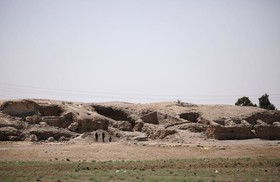 تصویری از یک بنای تاریخی تخریب شده هزارساله در رقه سوریه
