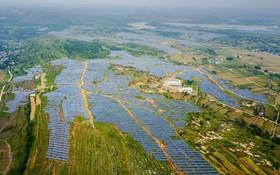 مزعه باتری های خورشیدی در هنان چین برای تولید برق