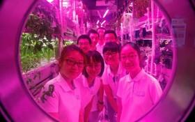 دانشجویان داوطلب دانگاه بیهانگ در پکن چین در محلی که به عنوان یک ایستگاه فضایی روی زمین شبیه سازی شده است برای تجربه زندگی در فضا