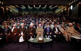 مسعودبارزانی در مراسم دیدار با ریش سفیدان و مقامات مذهبی در اربیل کردستان