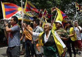 تظاهرات تبتی های تبعیدی در دهلی نو در هند علیه چین