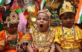 کودکان هندی در مراسمی مذهبی در اجمر