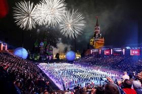 مراسم پایانی جشنواره گروه های موسیقی نظامی جهان در مسکو روسیه