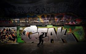 یک نقاشی دیواری یا گرافیتی در گذرگاه زیرزمینی در لندن