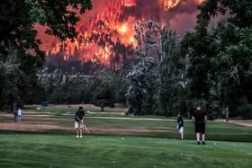 آتش سوزی در جنگل های اطراف واشنگتن و بازی همزمان گلف