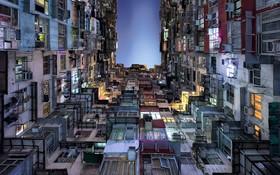 تصویری از مجتمع مسکونی در هنگ کنگ منطقه ای که به دلیل فقدان فضا برای سکونت گرانترین خانه ها را دارد