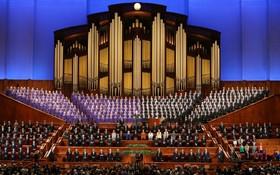 نمایی از کلیسای مورمون ها در سالک لیک سیتی در یوتای آمریکا و ارگ بزرگ آن