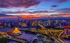 غروب آفتاب در استان نانینگ در چین