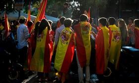 تظاهرات استقلال طلبان در بارسلونای اسپانیا پس از سلب قدرت از حکومت محلی