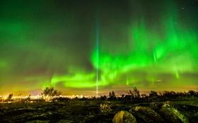 شفق قطبی در ریکیاویک در ایسلند