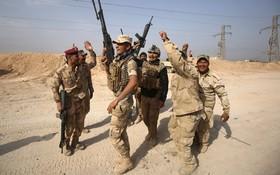 نیروهای نظامی عراق پس از تصرف شهر القیوم در نزدیکی مرز سوریه در حال شادی هستند