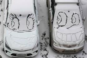 بارش برف در کراسنویرسک در روسیه و هنر برخی