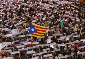 تظاهرات در کاتالونیای اسپانیا برای آزادی زندانیای استقلال طلب