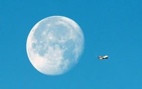 ماه کامل و عبور هواپیما