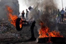 تظاهرات ساکنان فلسطینی در نابلس در کرانه باختری رود اردن