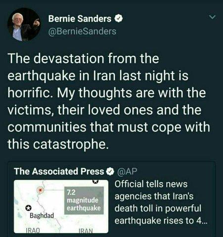توئیت «برنی سندرز» درخصوص زلزله کرمانشاه