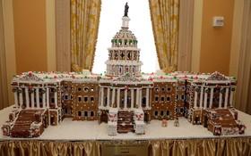 بنای کنگره آمریکا که با نان زنجبیلی ساخته شده است در کاخ سفید