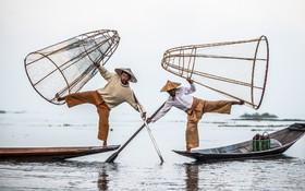 ماهیگیران در برمه در حال پرتاب تور برای صید خرچن