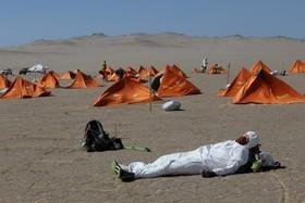 استراحت شرکت کنندگان در مسابقه ماراتن در پرو