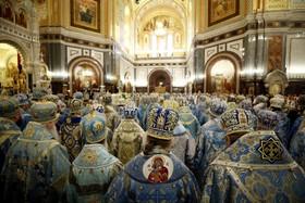 مراسم مذهبی در کلیسای ارتودوکس روسیه در مسکو