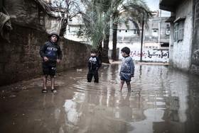 آبگرفتگی در غزه فلسطین پس از بارنگی