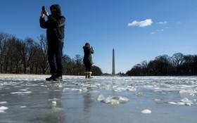 دریاچه یخزده در واشنگتن آمریکا