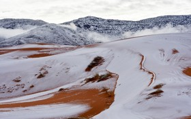برف در مناطق صحرایی در الجزایر که نادر رخ می دهد