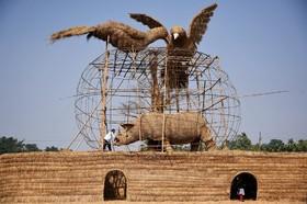 ساخت مجسمه هایی با کاه و ساقه برنج و بامبو در آسام هند به مناسبت فرارسیدن یک چشن سنتی