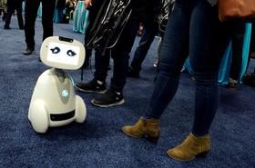 رباتی که در محوطه نمایشگاه که برای همراهی افراد ساخته شده
