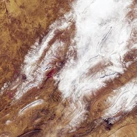 عکس ماهواره ای از بارش برف در منطقه ای صحرایی در الجزایر که بی سابقه اعلام شده