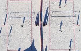 عکسی با پهپاد از مسابقات والیبال اروپا در برف در پیست اسکی کیسری ترکیه