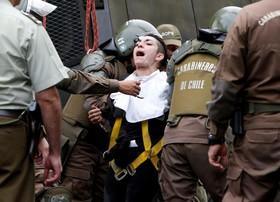 دستگیری تظاهرکننده  همزمان به سفر پاپ به ششیلی