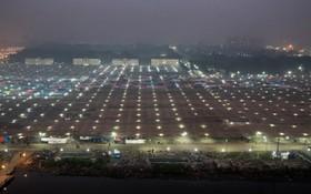 محل مراسم مذهبی مسلمانان بنگلادشی در داکا و آماده سازی محوطه ای برای این مراسم