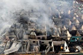آتش سوزی در منطقه ای مسکونی در فلیپین